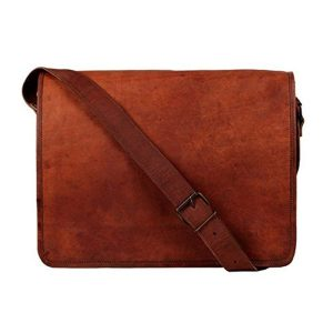 LLB Genuine Pure Real Original Leather Arts Vintage Cross-Body Genuine Pure Real Leather Laptop Messenger Bag (15″ Inches – Light Brown) – 28