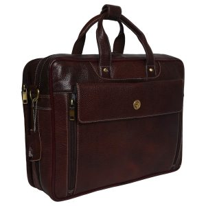 REDHORNZ Men's Leather Floater 15.6 Inches Laptop Bag (Bombay Brown)