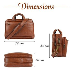 Zipline Office Laptop Vegan Leather Executive Formal 15.6 Laptop Briefcase Messenger Bag for Men Women with Multiple compartments (Tan)