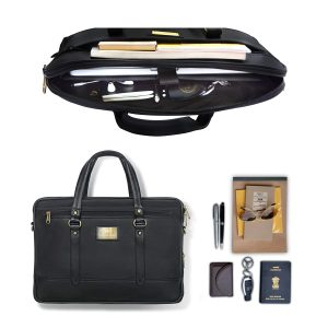 Smith & Blake, Office/Messenger Laptop Bag | PU Leather | 15.6 Inch | Black | High End